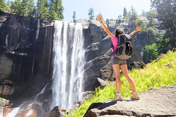 Reiziger in Yosemite Californië