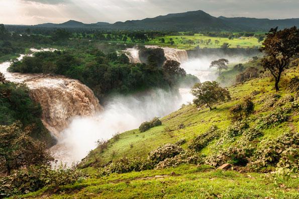 De watervallen van de Blauwe Nijl in Ethiopië