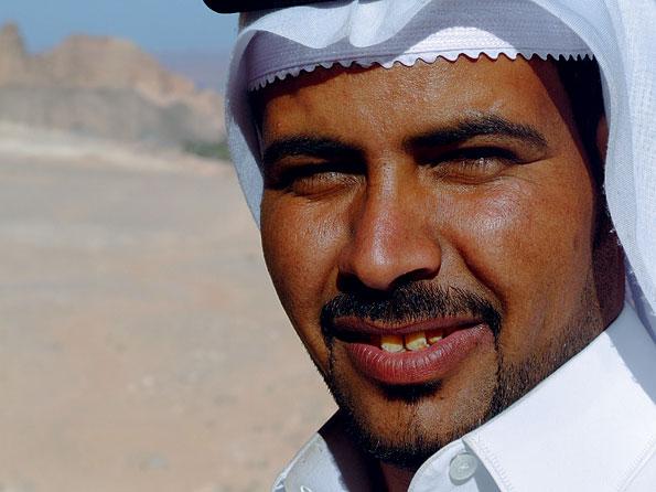 Een bewoner van de Sinaï woestijn in Egypte