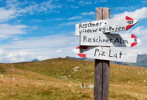 Een route aanduiding in Val Venosta